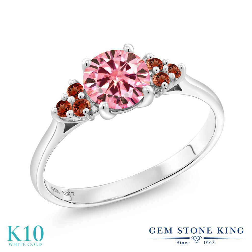 Gem Stone King 1.21カラット Vivid 天然ガーネット 10金 ホワイトゴールド(K10) 指輪 リング レディース 大粒 誕生日プレゼント