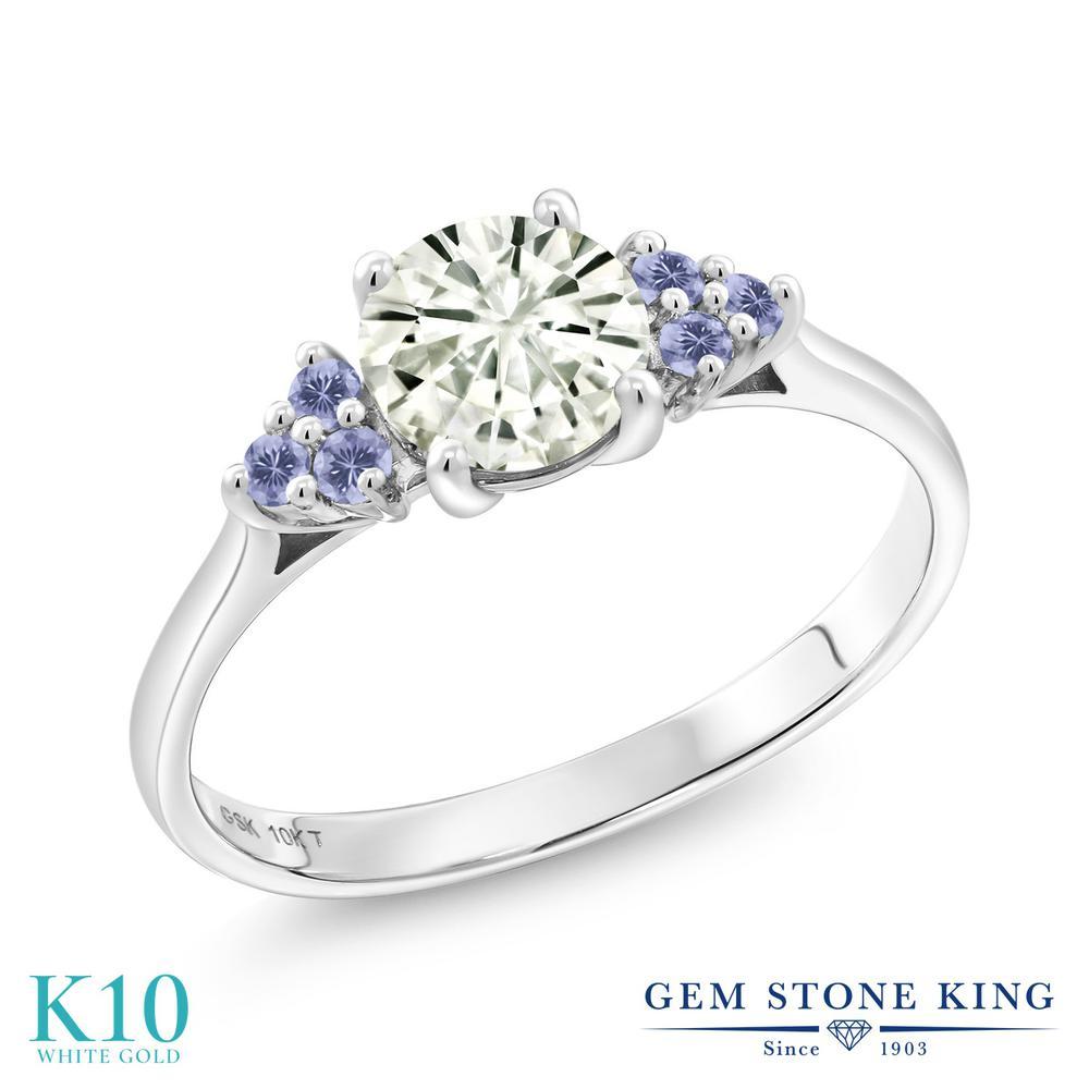 Gem Stone King 1.12カラット Forever Classic モアッサナイト Charles & Colvard 天然アイオライト(ブルー) 10金 ホワイトゴールド(K10) 指輪 リング レディース 大粒 誕生日プレゼント