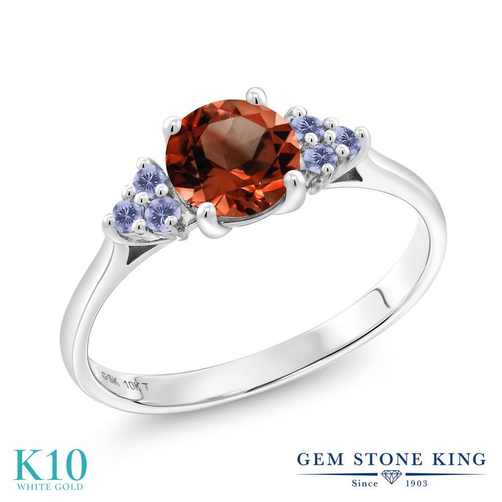 Gem Stone King 1.32カラット 天然 ガーネット 天然 アイオライト (ブルー) 10金 ホワイトゴールド(K10) 指輪 リング レディース 大粒 天然石 1月 誕生石 金属アレルギー対応 誕生日プレゼント