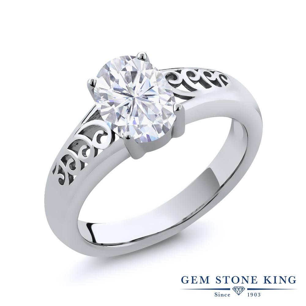 Gem Stone King 0.9カラット Forever Brilliant モアサナイト Charles & Colvard シルバー925 指輪 リング レディース モアッサナイト 一粒 シンプル 金属アレルギー対応 誕生日プレゼント
