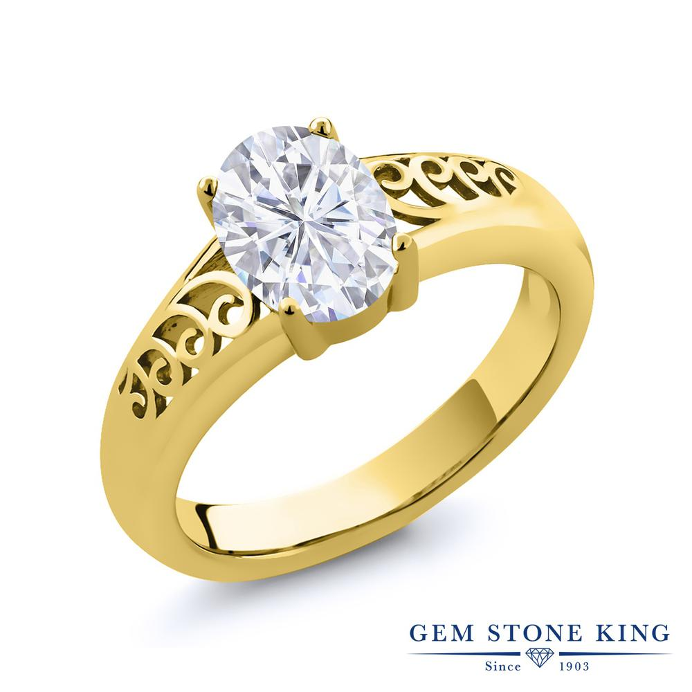 【10%OFF】 Gem Stone King 0.9カラット Forever Brilliant モアサナイト Charles & Colvard 指輪 リング レディース シルバー925 イエローゴールド 加工 モアッサナイト 一粒 シンプル クリスマスプレゼント 女性 彼女 妻 誕生日