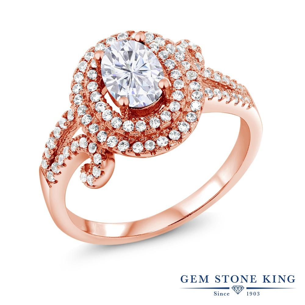 【10%OFF】 Gem Stone King 2.15カラット Forever Brilliant モアサナイト Charles & Colvard 指輪 リング レディース シルバー925 ピンクゴールド 加工 モアッサナイト ヘイロー クリスマスプレゼント 女性 彼女 妻 誕生日