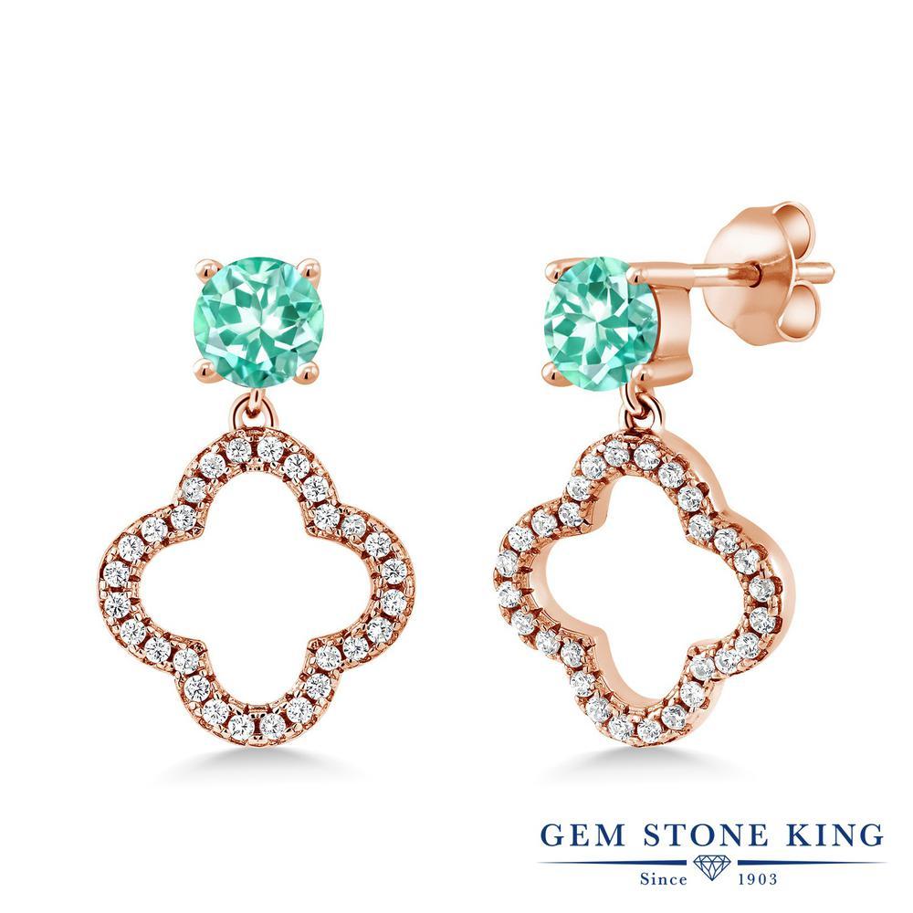 Gem Stone King 1.66カラット 天然 アパタイト シルバー925 ピンクゴールドコーティング ピアス レディース 小粒 ぶら下がり スクリュー 天然石 金属アレルギー対応 誕生日プレゼント