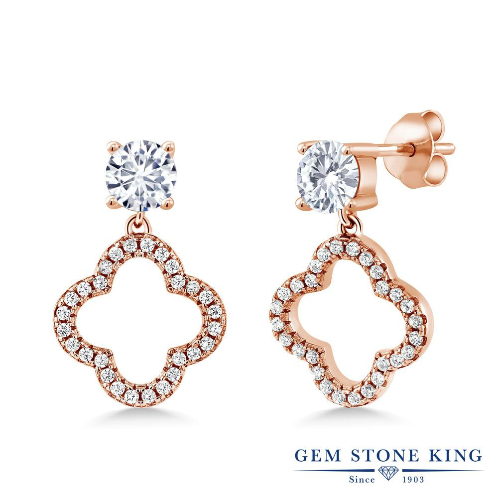 Gem Stone King 1.67カラット Forever Brilliant モアサナイト Charles & Colvard シルバー925 ピンクゴールドコーティング ピアス レディース モアッサナイト 小粒 ぶら下がり スクリュー 金属アレルギー対応 誕生日プレゼント