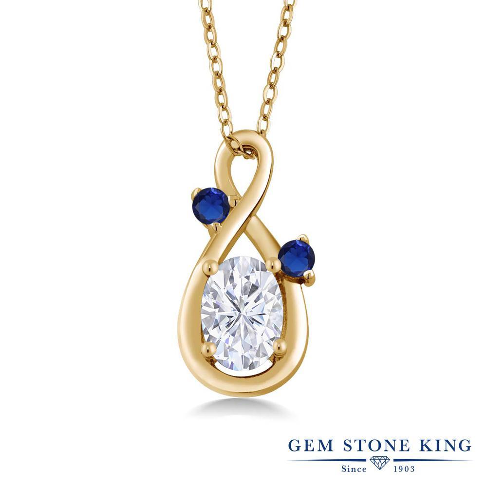 Gem Stone King 0.99カラット Forever Brilliant モアサナイト Charles & Colvard シルバー925 イエローゴールドコーティング ネックレス ペンダント レディース モアッサナイト シンプル 金属アレルギー対応 誕生日プレゼント