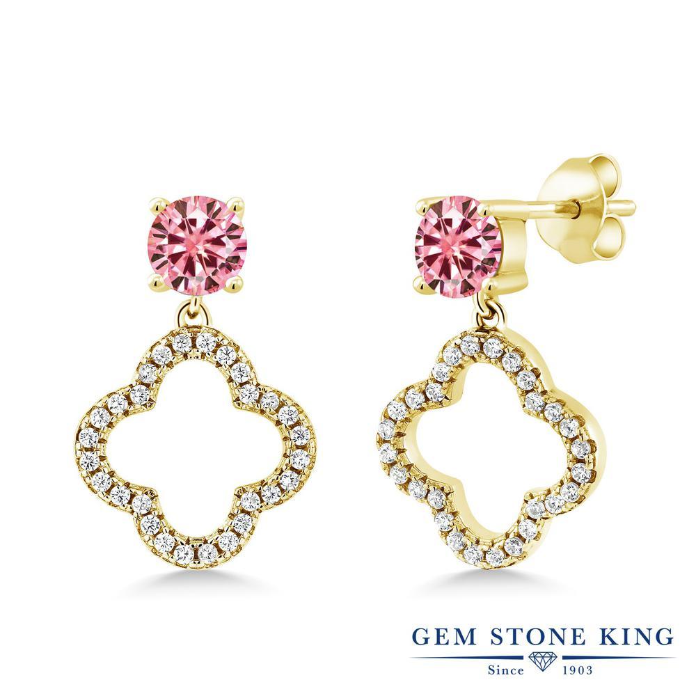 Gem Stone King 1.67カラット ピンク モアッサナイト Charles & Colvard シルバー925 イエローゴールドコーティング ピアス レディース モアサナイト 小粒 ぶら下がり スクリュー 金属アレルギー対応 誕生日プレゼント