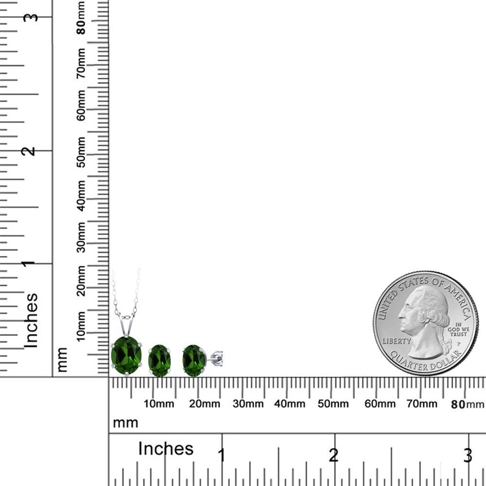 4 8カラット 天然 クロムダイオプサイド ペンダント ピアスセット レディース シルバー925 ブランド おしゃれ 一粒 緑 大粒 シンプル 天然石 プレゼント 女性 彼女 妻 誕生日NwPkOX8n0