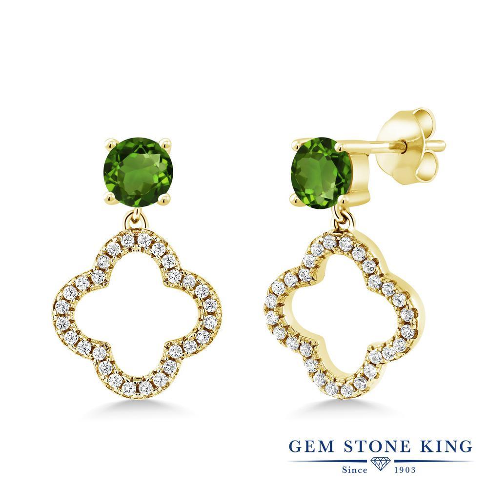 Gem Stone King 1.67カラット 天然 クロムダイオプサイド シルバー925 イエローゴールドコーティング ピアス レディース 小粒 ぶら下がり スクリュー 天然石 金属アレルギー対応 誕生日プレゼント