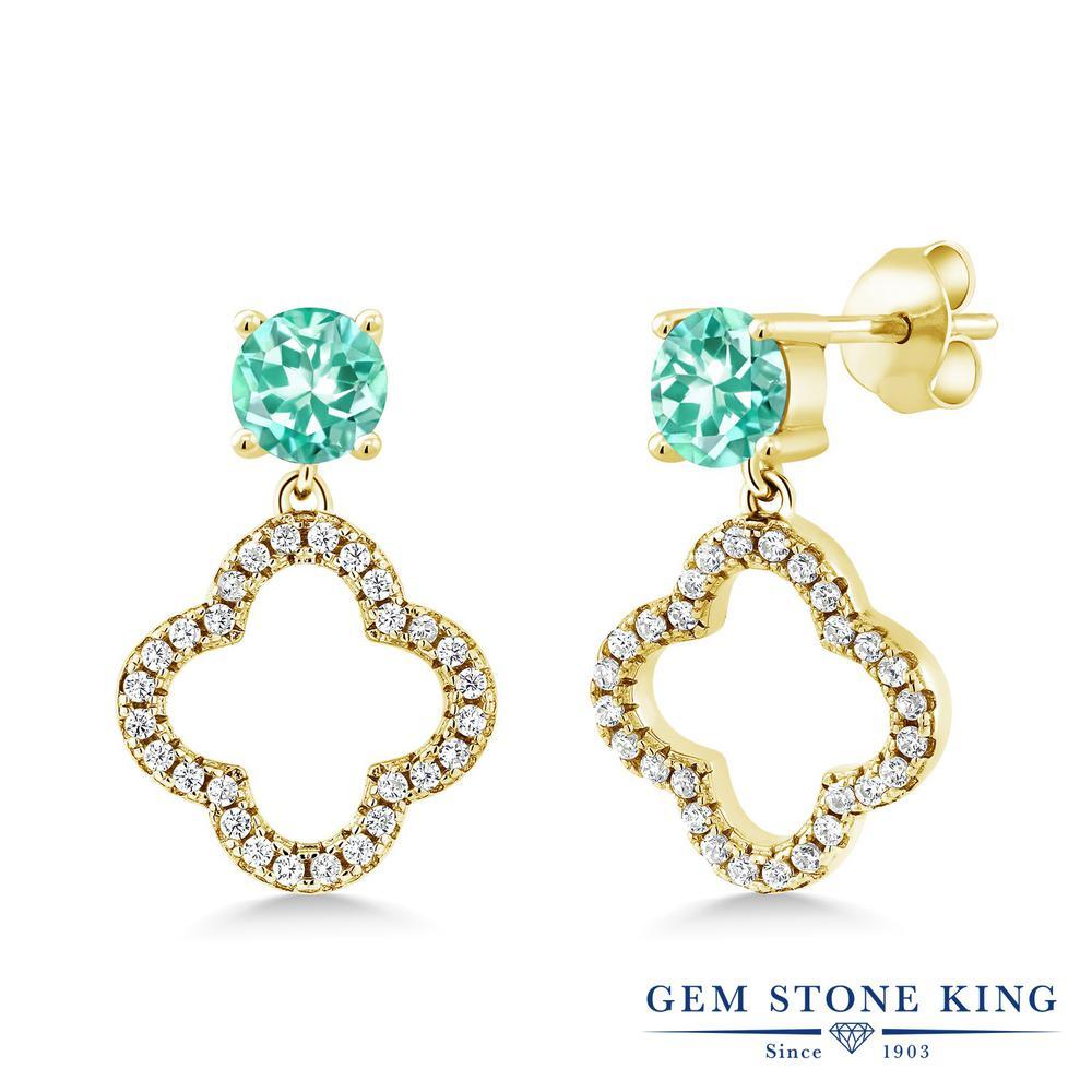 Gem Stone King 1.66カラット 天然 アパタイト シルバー925 イエローゴールドコーティング ピアス レディース 小粒 ぶら下がり スクリュー 天然石 金属アレルギー対応 誕生日プレゼント