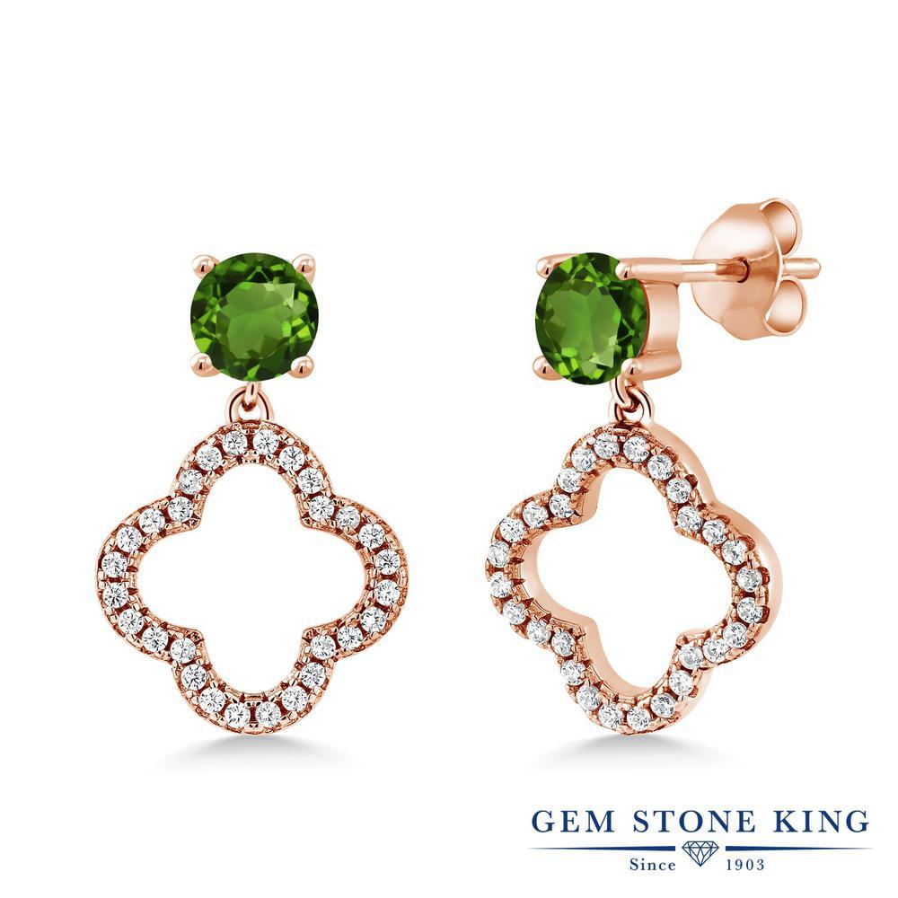 Gem Stone King 1.67カラット 天然 クロムダイオプサイド シルバー925 ピンクゴールドコーティング ピアス レディース 小粒 ぶら下がり スクリュー 天然石 金属アレルギー対応 誕生日プレゼント