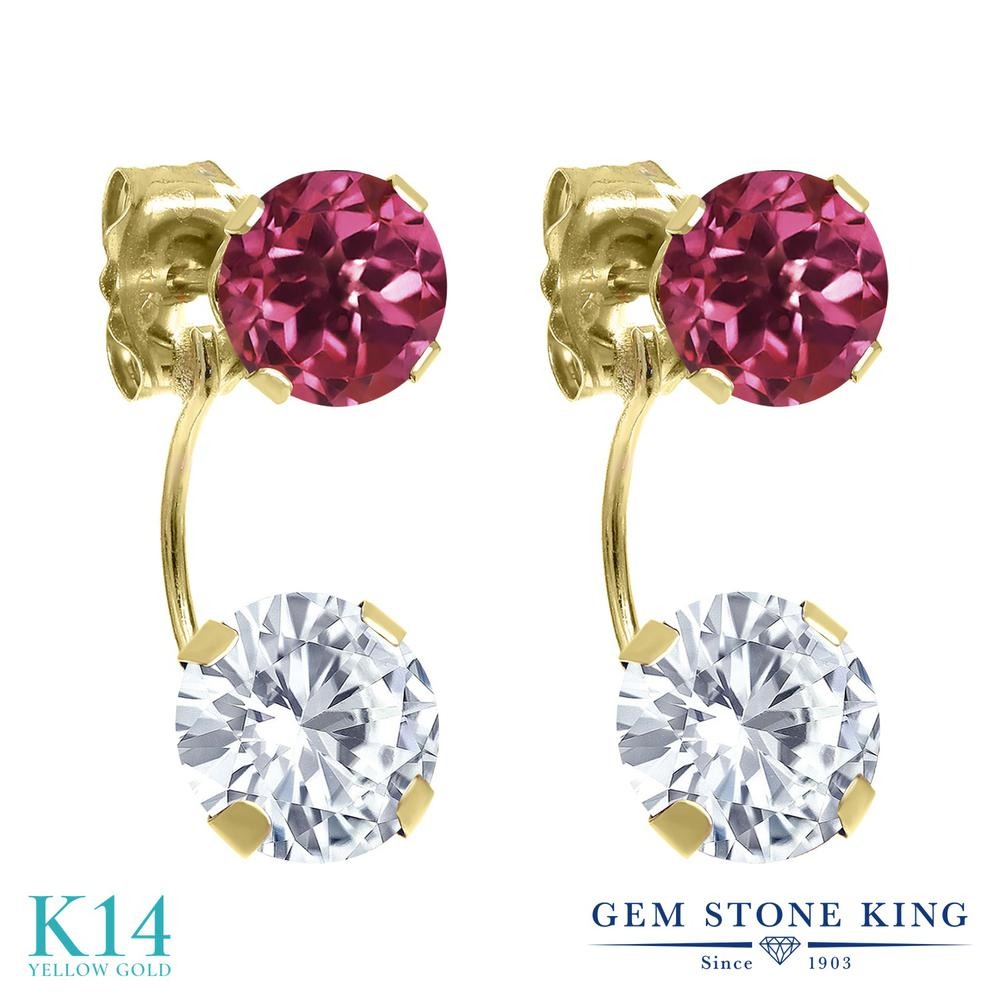 Gem Stone King 2.64カラット Forever One GHI モアッサナイト Charles & Colvard 天然 ピンクトルマリン 14金 イエローゴールド(K14) ピアス レディース モアサナイト スタッド 金属アレルギー対応 誕生日プレゼント