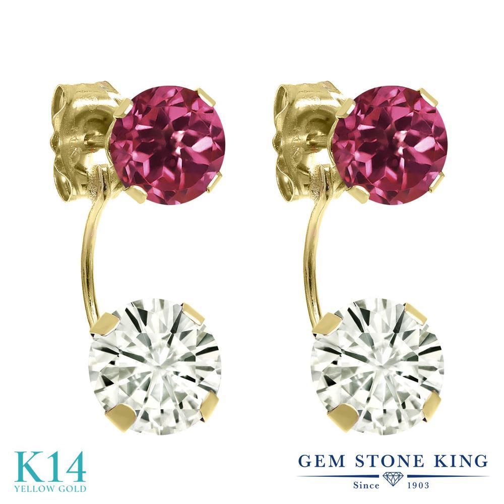 Gem Stone King 2.1カラット Forever Classic モアッサナイト Charles & Colvard 天然トルマリン(ピンク) 14金 イエローゴールド(K14) ピアス レディース モアサナイト 金属アレルギー対応 誕生日プレゼント