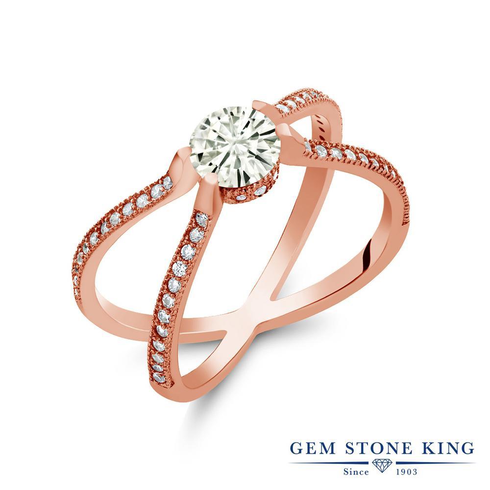 Gem Stone King 1.38カラット Forever Classic モアサナイト Charles & Colvard シルバー925 ピンクゴールドコーティング 指輪 リング レディース モアッサナイト 金属アレルギー対応 誕生日プレゼント