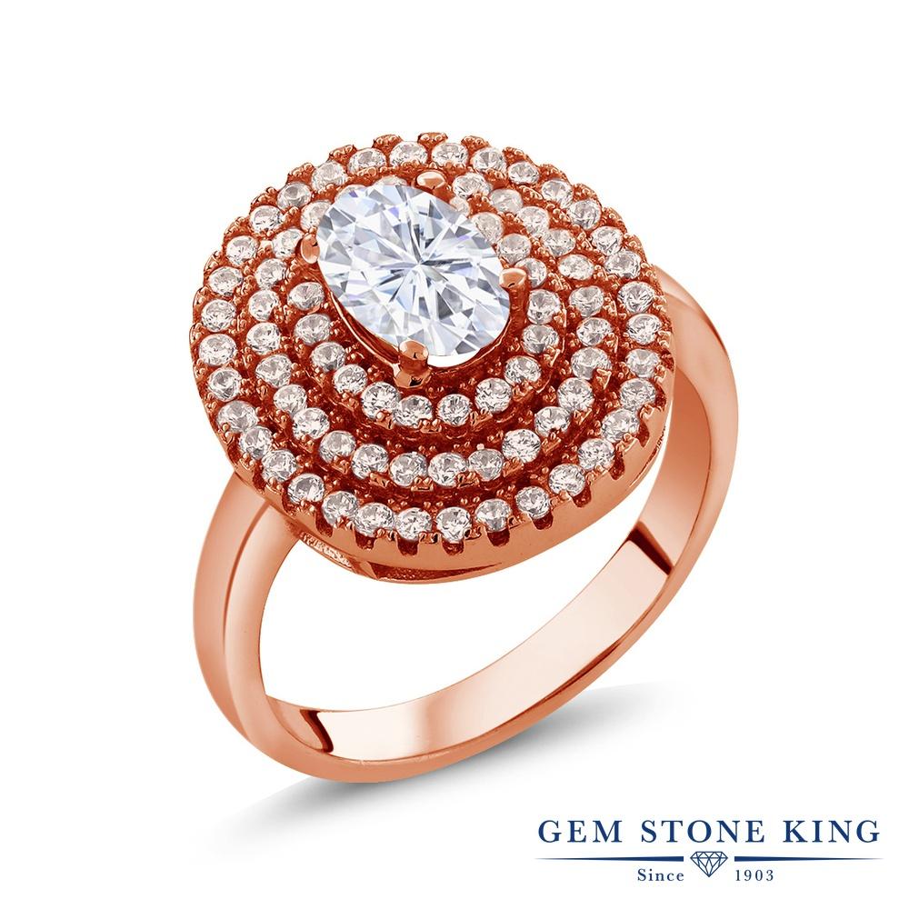 Gem Stone King 1.87カラット Forever Brilliant モアサナイト Charles & Colvard シルバー925 ピンクゴールドコーティング 指輪 リング レディース モアッサナイト 金属アレルギー対応 誕生日プレゼント