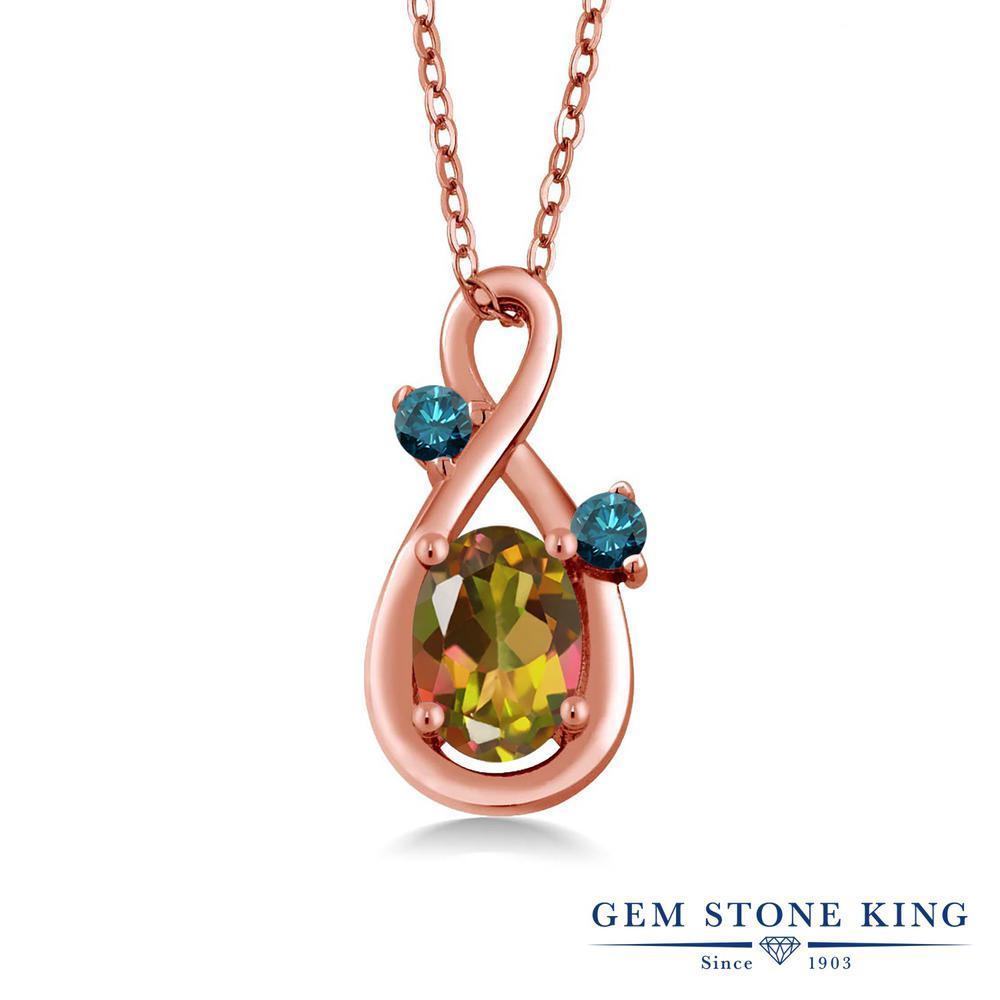 Gem Stone King 1.27カラット 天然石 ミスティックトパーズ(マンゴーオレンジ) シルバー 925 ローズゴールドコーティング 天然ブルーダイヤモンド ネックレス ペンダント レディース 大粒 シンプル 天然石 誕生日プレゼント