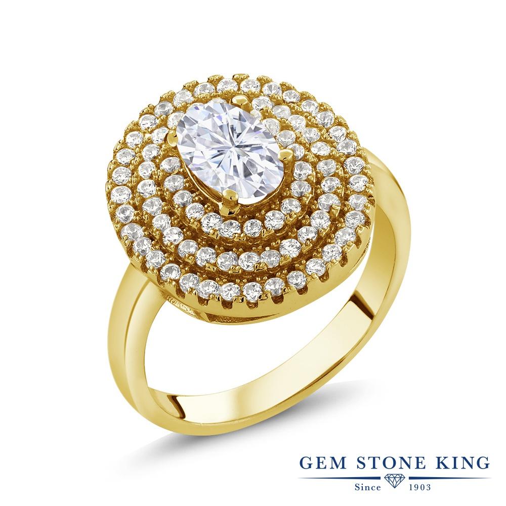【10%OFF】 Gem Stone King 1.87カラット Forever Brilliant モアサナイト Charles & Colvard 指輪 リング レディース シルバー925 イエローゴールド 加工 モアッサナイト クリスマスプレゼント 女性 彼女 妻 誕生日