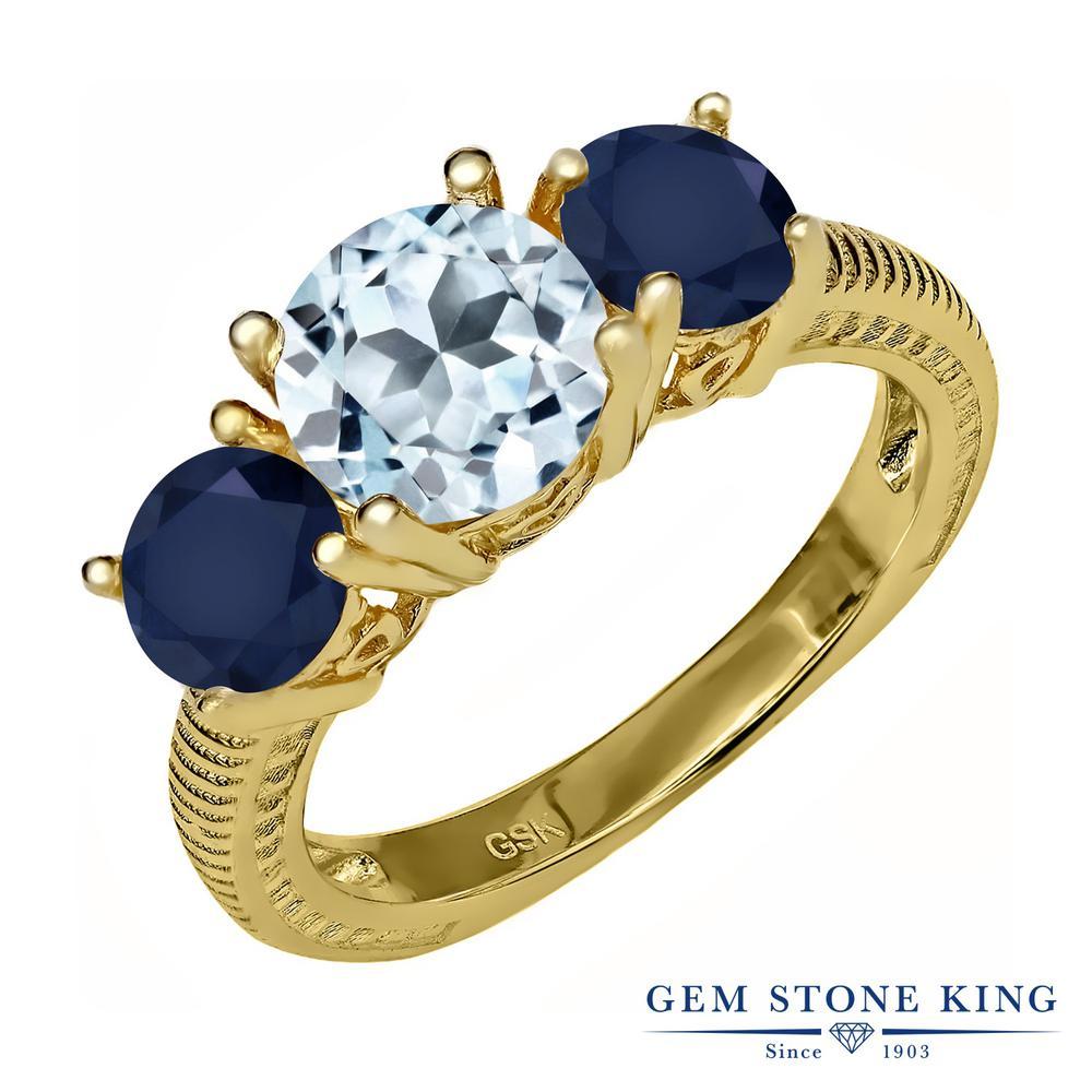 Gem Stone King 2.9カラット 天然 スカイブルートパーズ 天然 サファイア シルバー925 イエローゴールドコーティング 指輪 リング レディース 大粒 シンプル スリーストーン 天然石 11月 誕生石 金属アレルギー対応 誕生日プレゼント