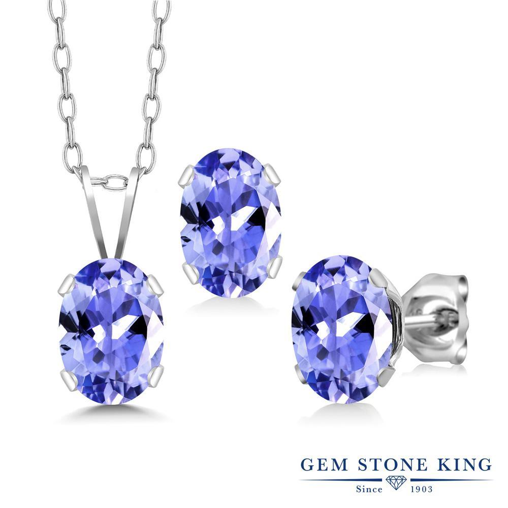 Gem Stone King 2.25カラット 天然石 タンザナイト シルバー925 ペンダント&ピアスセット レディース シンプル 天然石 12月 誕生石 金属アレルギー対応 誕生日プレゼント