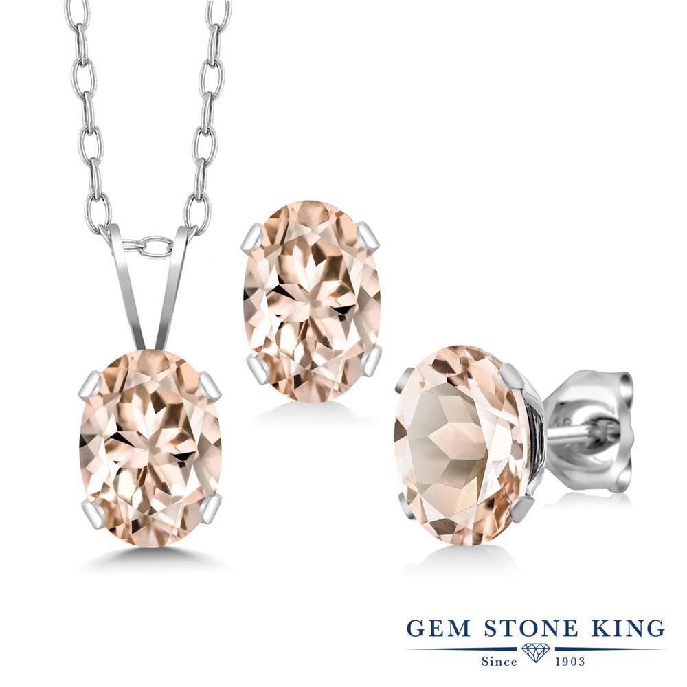 Gem Stone King 1.95カラット 天然 モルガナイト (ピーチ) シルバー925 ペンダント&ピアスセット レディース シンプル 天然石 3月 誕生石 金属アレルギー対応 誕生日プレゼント