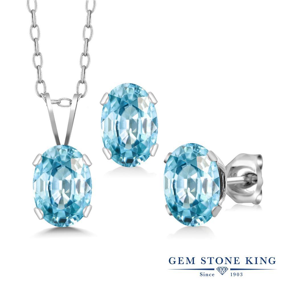 Gem Stone King 3.75カラット 天然石 ブルージルコン シルバー925 ペンダント&ピアスセット レディース 大粒 シンプル 天然石 12月 誕生石 金属アレルギー対応 誕生日プレゼント