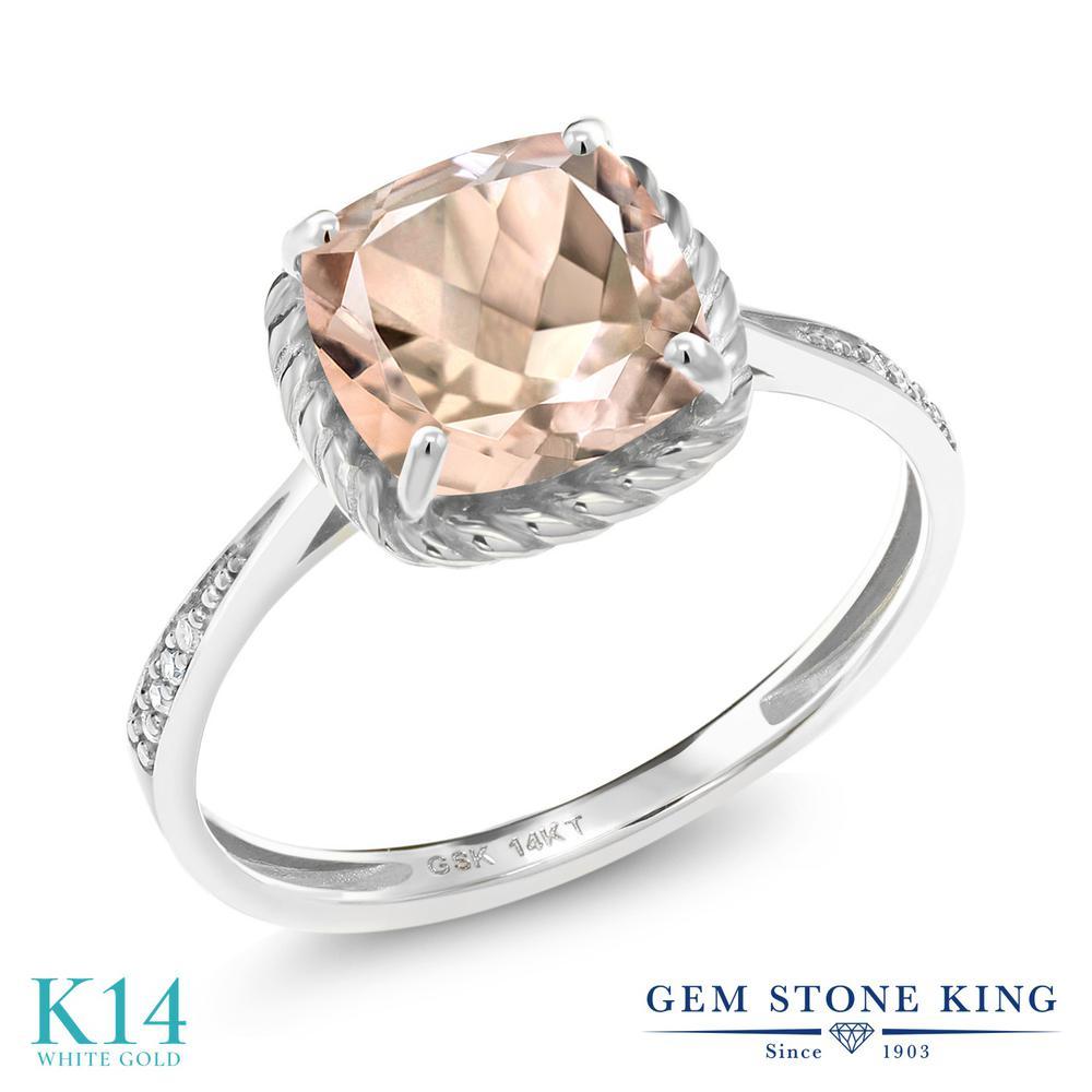 1.94カラット 天然 モルガナイト (ピーチ) ダイヤモンド 指輪 リング レディース 14金 ホワイトゴールド K14 大粒 カクテル 天然石 3月 誕生石 婚約指輪 エンゲージリング