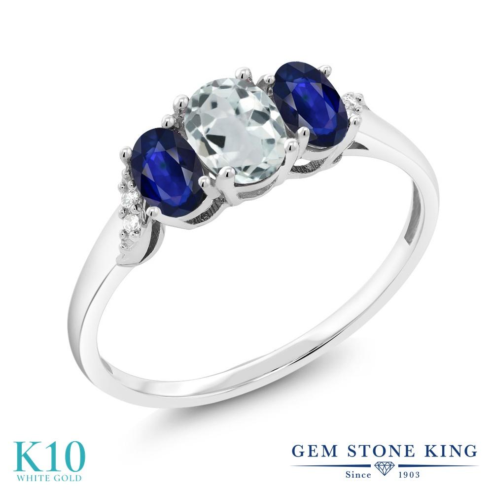 Gem Stone King 1カラット 天然 アクアマリン 天然 サファイア 天然 ダイヤモンド 10金 ホワイトゴールド(K10) 指輪 リング レディース 小粒 スリーストーン 天然石 3月 誕生石 金属アレルギー対応 誕生日プレゼント