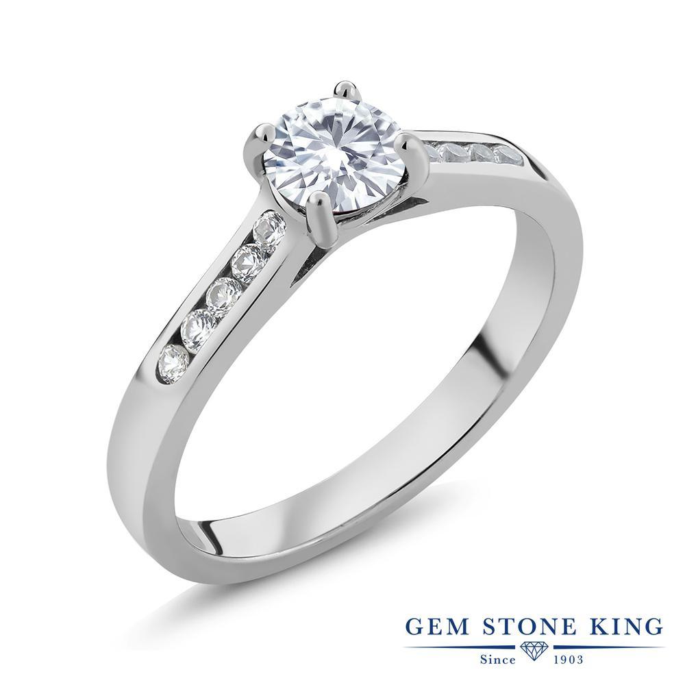 Gem Stone King 0.6カラット Forever Brilliant モアッサナイト Charles & Colvard 合成ホワイトサファイア(ダイヤのような無色透明) シルバー925 指輪 リング レディース モアサナイト 小粒 マルチストーン 金属アレルギー対応 誕生日プレゼント