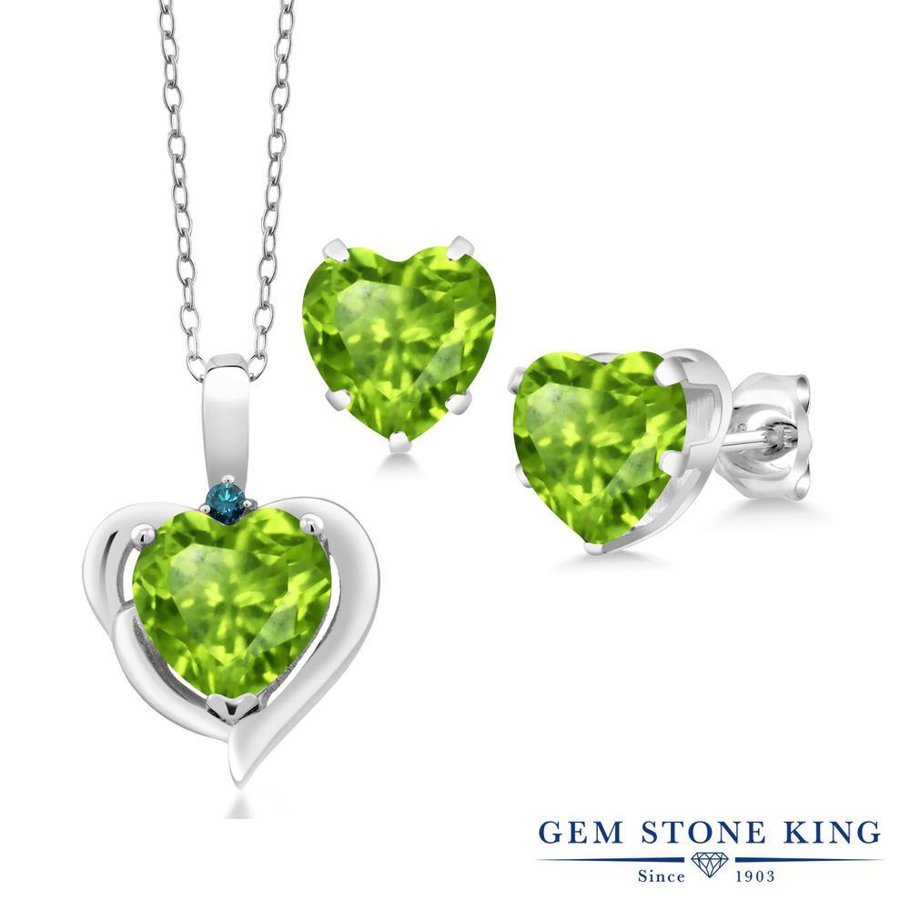 Gem Stone King 4.82カラット 天然石 ペリドット 天然 ブルーダイヤモンド シルバー925 ペンダント&ピアスセット レディース 大粒 天然石 8月 誕生石 金属アレルギー対応 誕生日プレゼント
