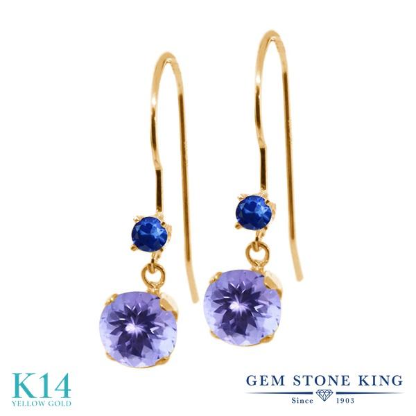 Gem Stone King 1.02カラット 天然石 タンザナイト 天然 サファイア 14金 イエローゴールド(K14) ピアス レディース 小粒 ぶら下がり アメリカン 揺れる 天然石 12月 誕生石 金属アレルギー対応 誕生日プレゼント