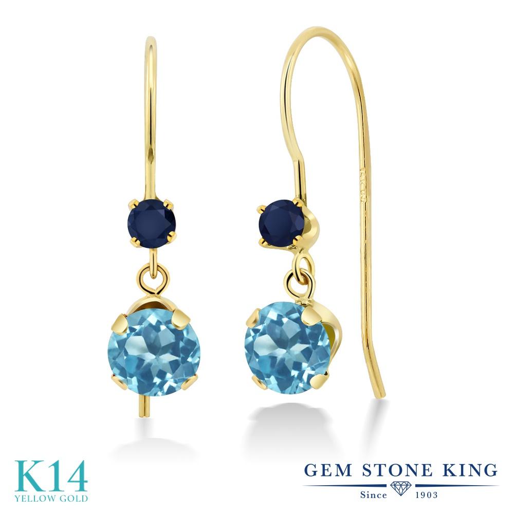 Gem Stone King 1.36カラット 天然トパーズ(スイスブルー) 天然サファイア 14金 イエローゴールド(K14) ピアス レディース アメリカン フック 天然石 誕生石 金属アレルギー対応 誕生日プレゼント