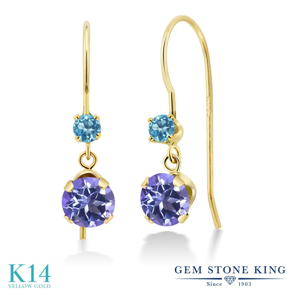 Gem Stone King 1.46カラット 天然 ミスティックトパーズ (タンザナイトブルー) シミュレイテッド スカイブルートパーズ 14金 イエローゴールド(K14) ピアス レディース ぶら下がり アメリカン 揺れる 天然石 金属アレルギー対応 誕生日プレゼント