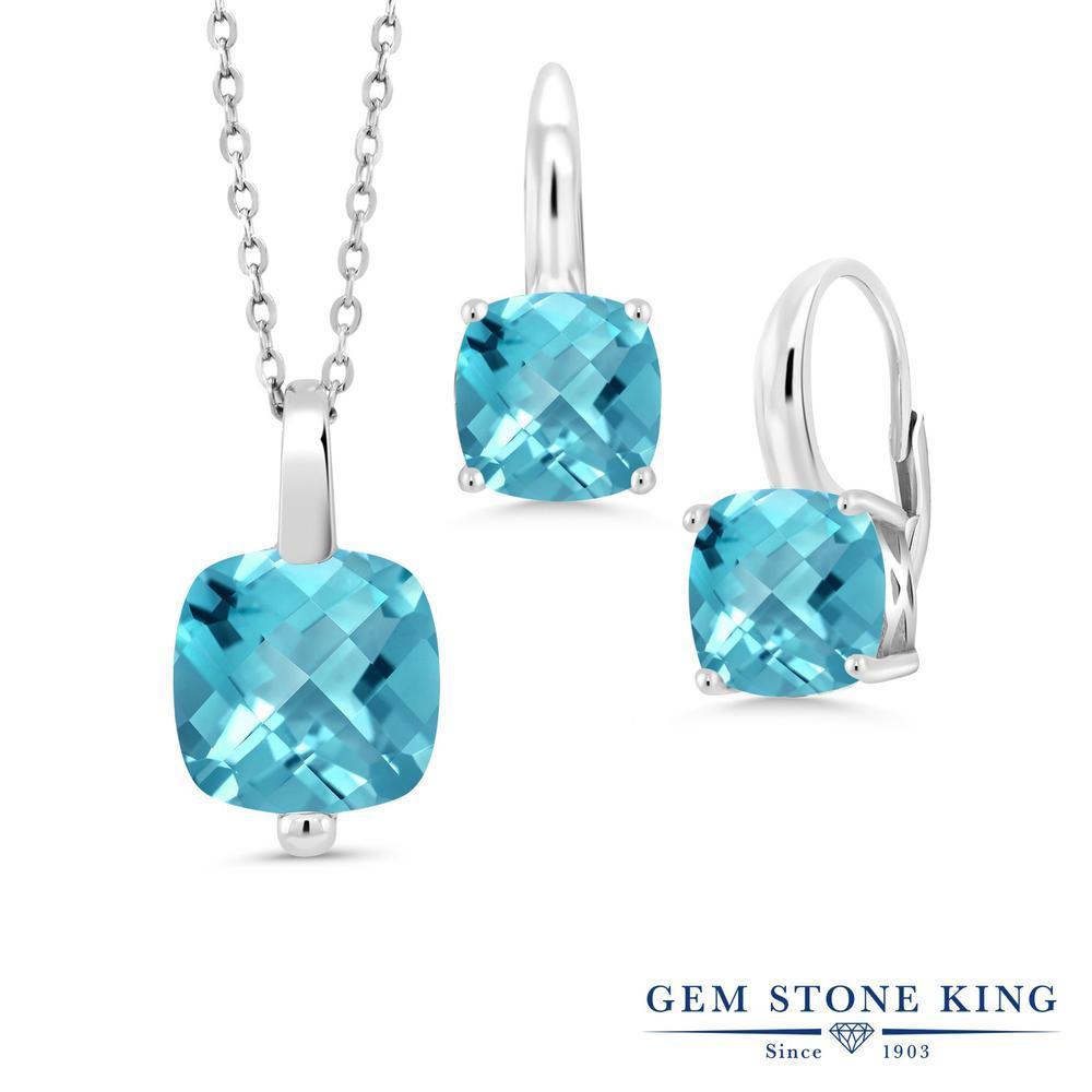 Gem Stone King 8.65カラット 天然 スイスブルートパーズ シルバー925 ペンダント&ピアスセット レディース 大粒 シンプル レバーバック 天然石 11月 誕生石 金属アレルギー対応 誕生日プレゼント