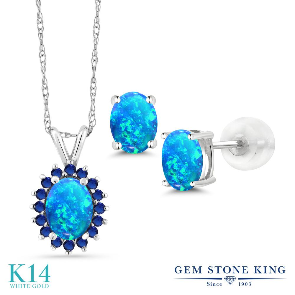 Gem Stone King 2.38カラット シミュレイテッド ブルーオパール 14金 ホワイトゴールド(K14) ペンダント&ピアスセット レディース 大粒 10月 誕生石 金属アレルギー対応 誕生日プレゼント
