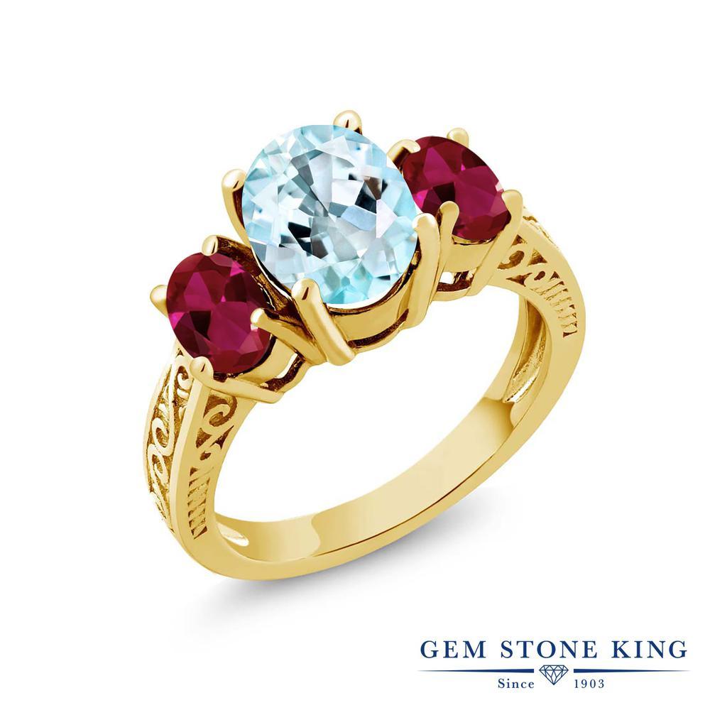 Gem Stone King 4カラット 天然トパーズ(スカイブルー) 合成ルビー シルバー 925 イエローゴールドコーティング 指輪 リング レディース 大粒 シンプル スリーストーン 天然石 誕生石 金属アレルギー対応 誕生日プレゼント