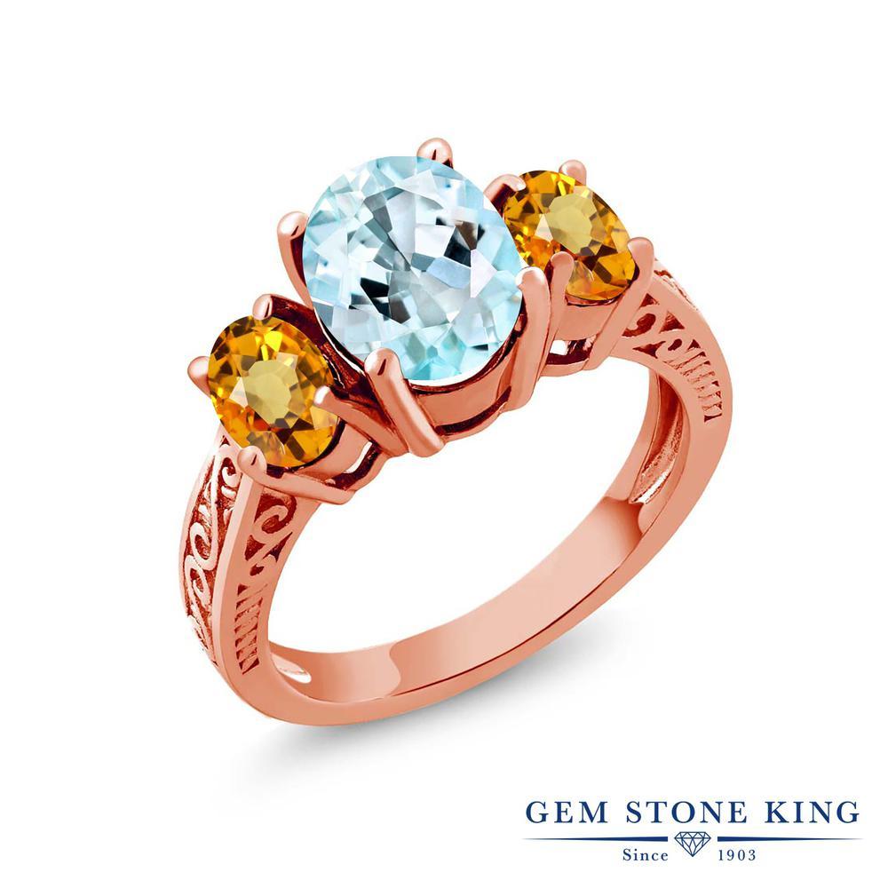 Gem Stone King 3.23カラット 天然 スカイブルートパーズ 天然 イエローサファイア シルバー925 ピンクゴールドコーティング 指輪 リング レディース 大粒 シンプル スリーストーン 天然石 11月 誕生石 金属アレルギー対応 誕生日プレゼント