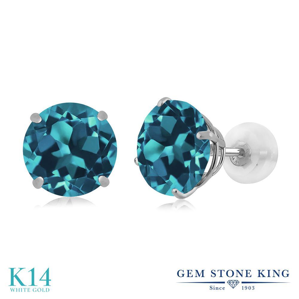 Gem Stone King 5カラット 天然 ロンドンブルートパーズ 14金 ホワイトゴールド(K14) ピアス レディース 大粒 シンプル 天然石 11月 誕生石 金属アレルギー対応 誕生日プレゼント