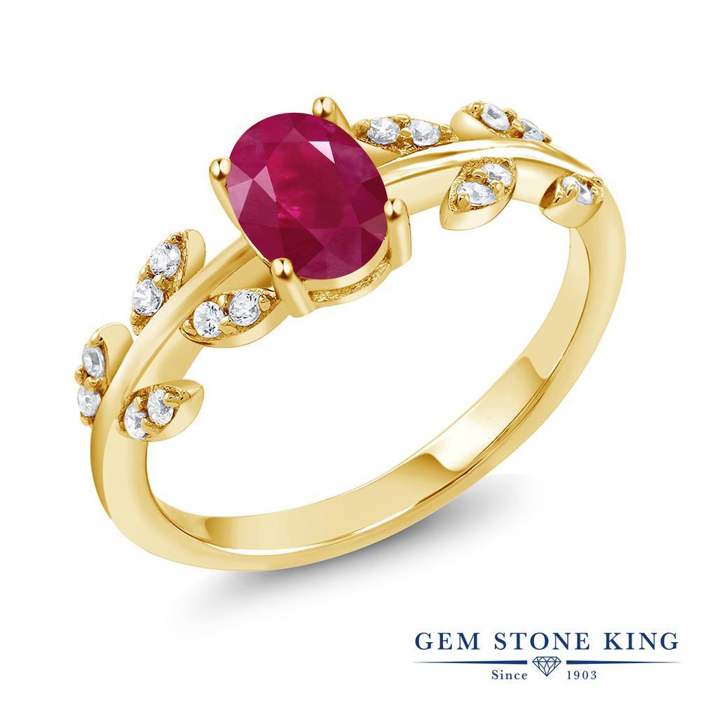 Gem Stone King 1.21カラット 天然 ルビー シルバー925 イエローゴールドコーティング 指輪 リング レディース 大粒 オリーブ マルチストーン 天然石 7月 誕生石 金属アレルギー対応 誕生日プレゼント