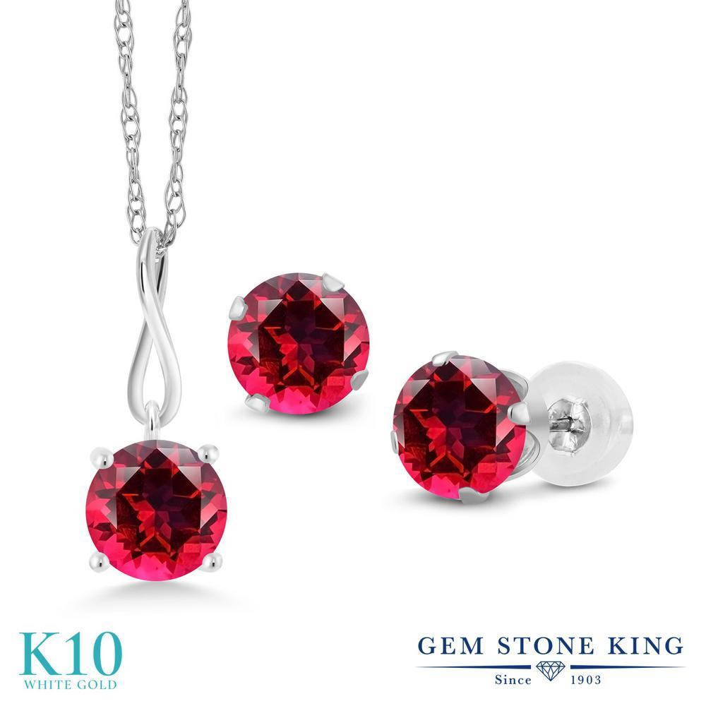 Gem Stone King 3カラット 天然石 レッドトパーズ (スワロフスキー 天然石シリーズ) 10金 ホワイトゴールド(K10) ペンダント&ピアスセット レディース 大粒 シンプル 天然石 金属アレルギー対応 誕生日プレゼント