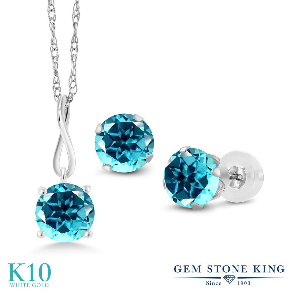 Gem Stone King 3カラット 天然石 パライバトパーズ (スワロフスキー 天然石シリーズ) 10金 ホワイトゴールド(K10) ペンダント&ピアスセット レディース 大粒 シンプル 天然石 金属アレルギー対応 誕生日プレゼント