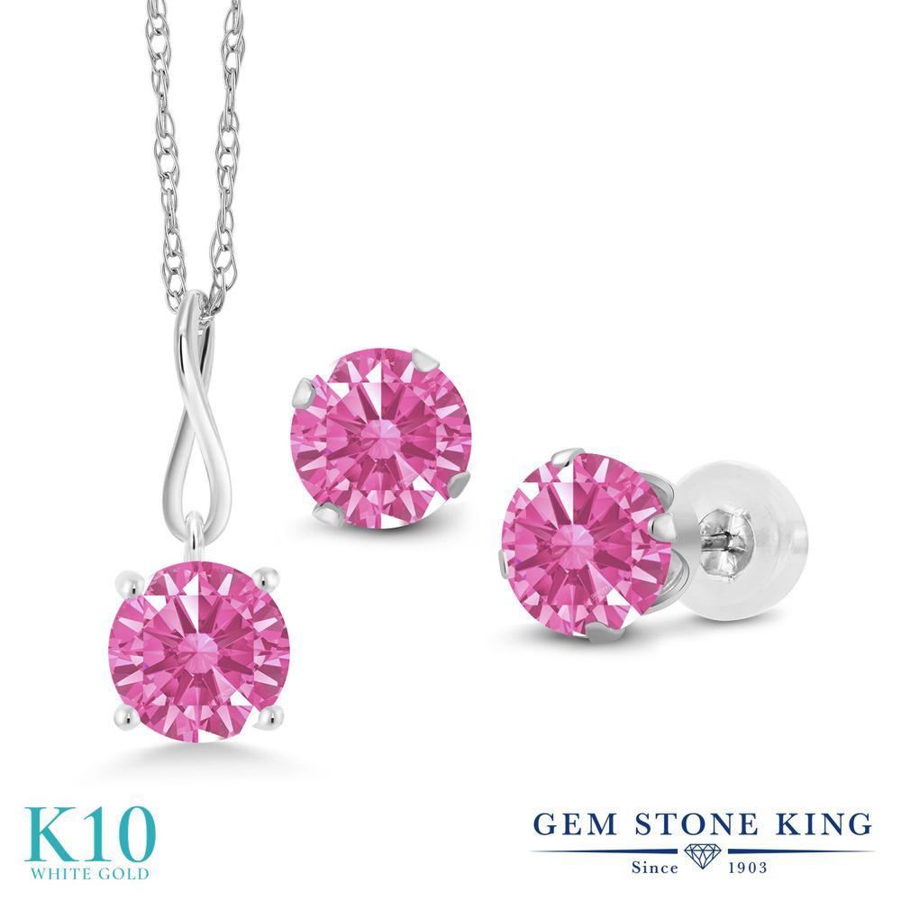Gem Stone King スワロフスキージルコニア (ピンク) 10金 ホワイトゴールド(K10) ペンダント&ピアスセット レディース CZ シンプル 金属アレルギー対応 誕生日プレゼント