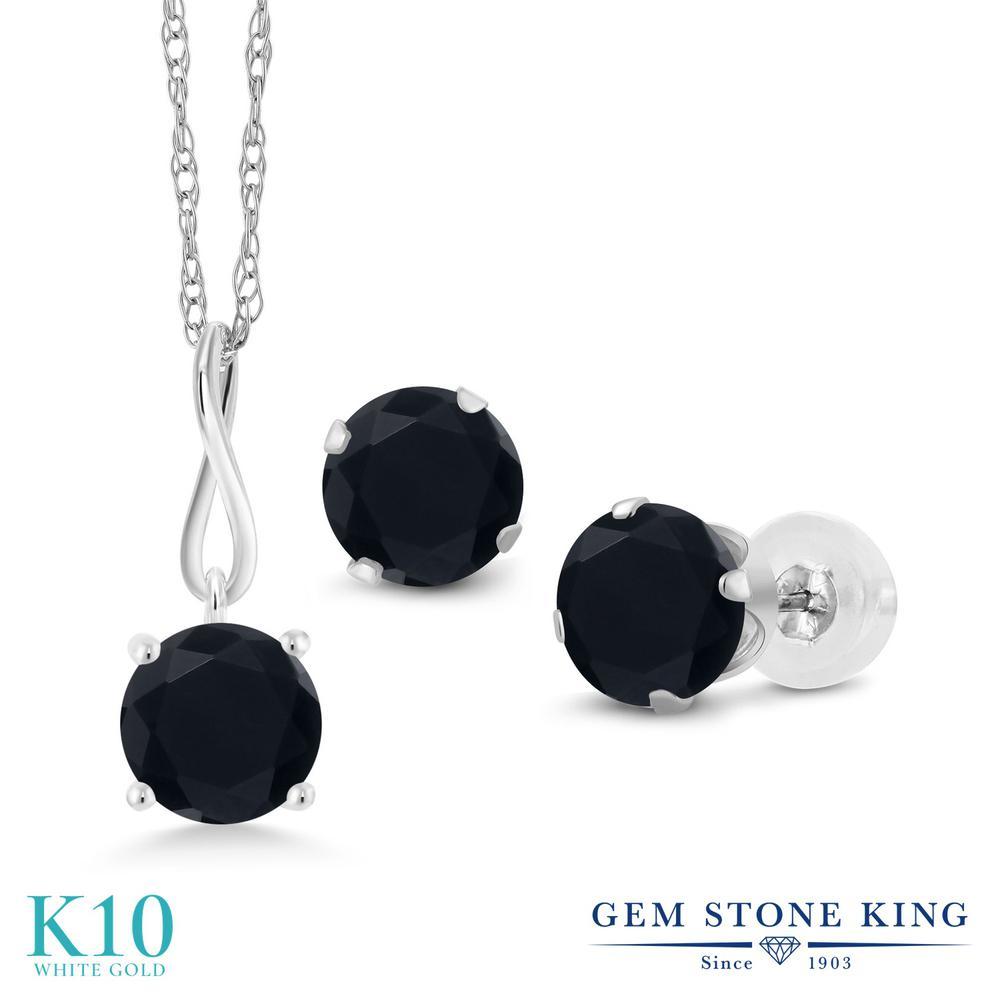 Gem Stone King 2.4カラット 天然 オニキス 10金 ホワイトゴールド(K10) ペンダント&ピアスセット レディース シンプル 天然石 8月 誕生石 金属アレルギー対応 誕生日プレゼント