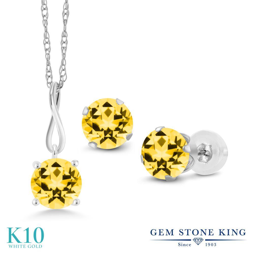 Gem Stone King 3カラット 天然石 トパーズ ハニースワロフスキー 10金 ホワイトゴールド(K10) ペンダント&ピアスセット レディース 大粒 シンプル 天然石 金属アレルギー対応 誕生日プレゼント