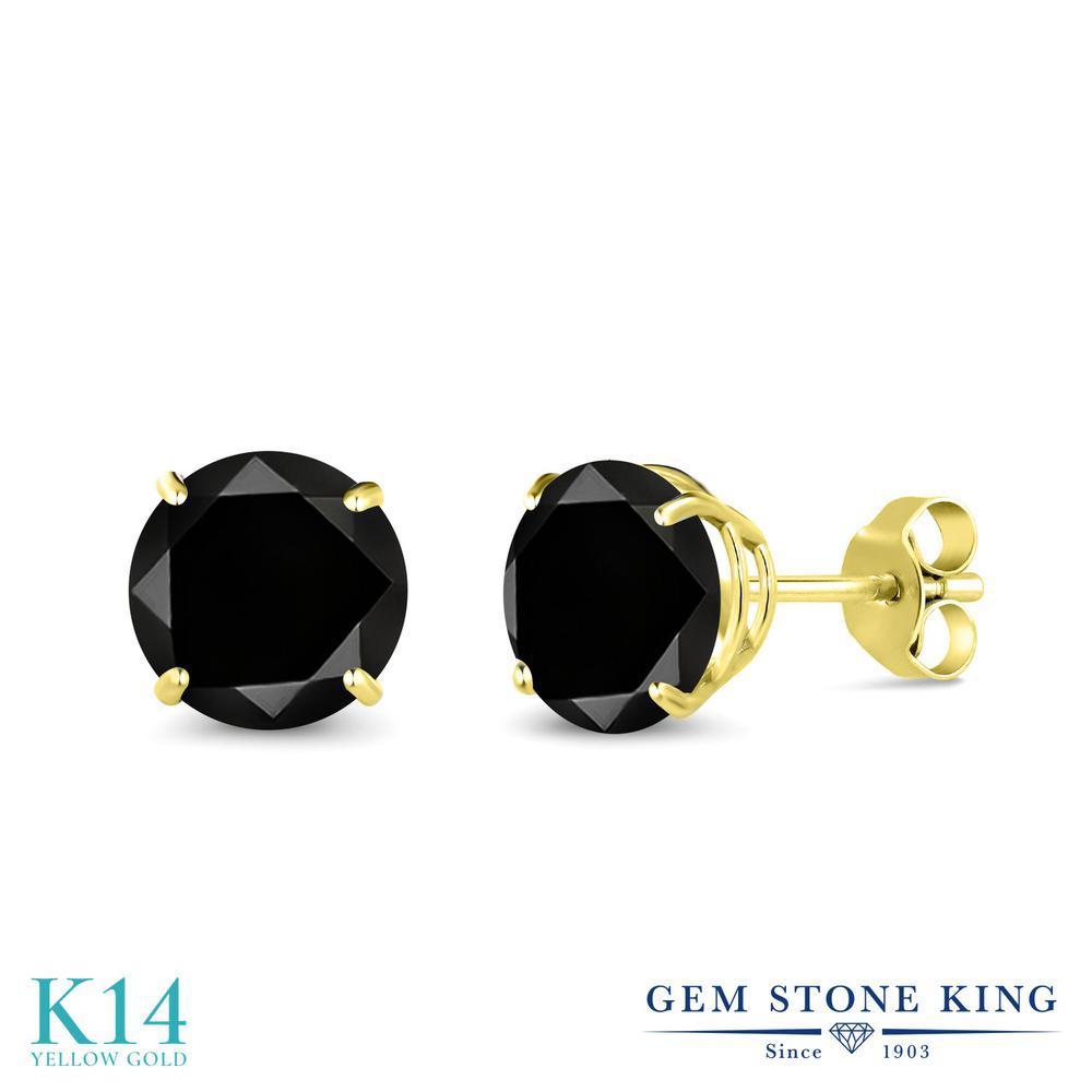 2.2カラット ブラックダイヤモンド ピアス レディース 14金 イエローゴールド K14 ブランド おしゃれ 一粒 ブラック ダイヤ 黒 大粒 シンプル スタッド 天然石 4月 誕生石 金属アレルギー対応
