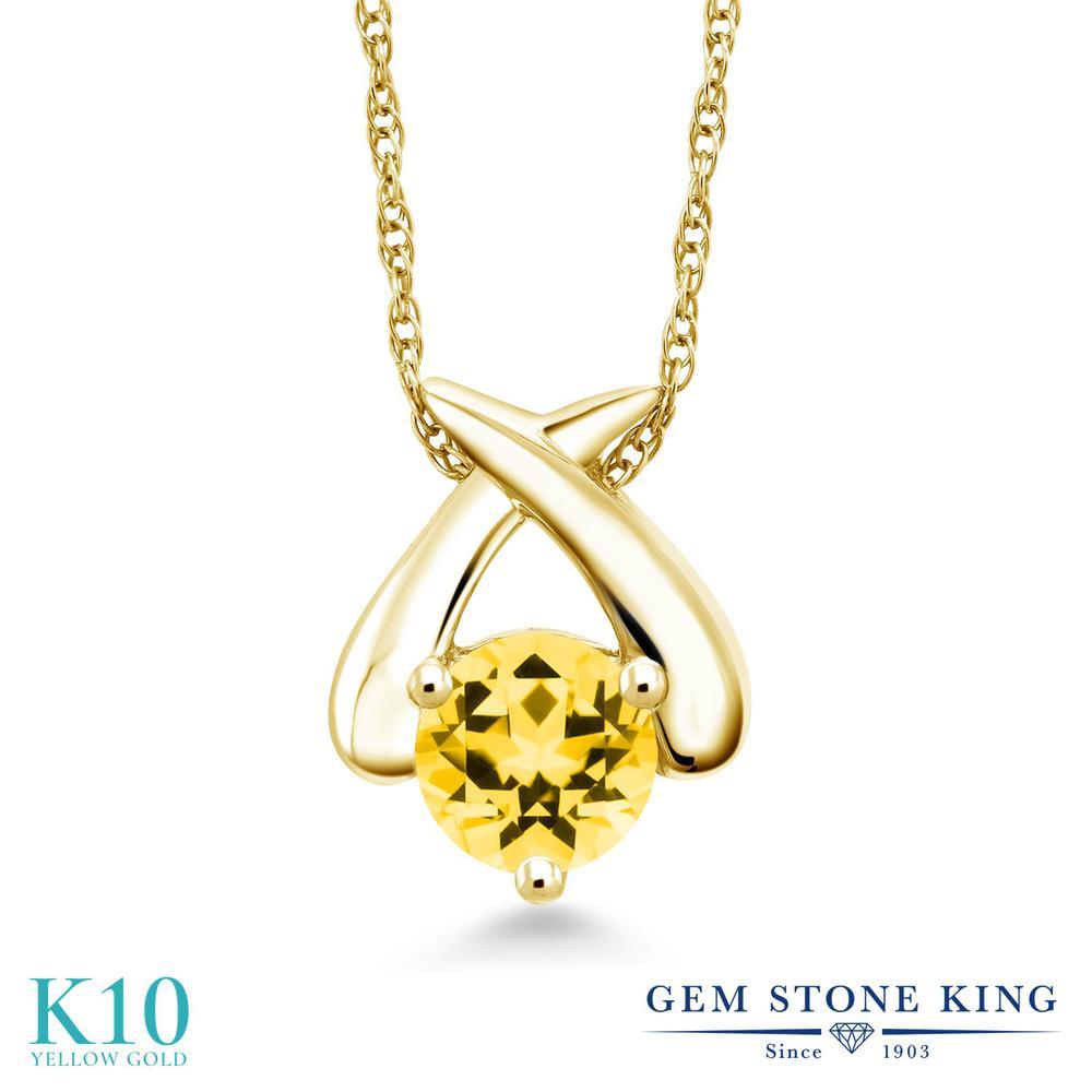 Gem Stone King 1カラット 天然石 トパーズ ハニースワロフスキー 10金 イエローゴールド(K10) ネックレス ペンダント レディース 大粒 一粒 シンプル 天然石 金属アレルギー対応 誕生日プレゼント