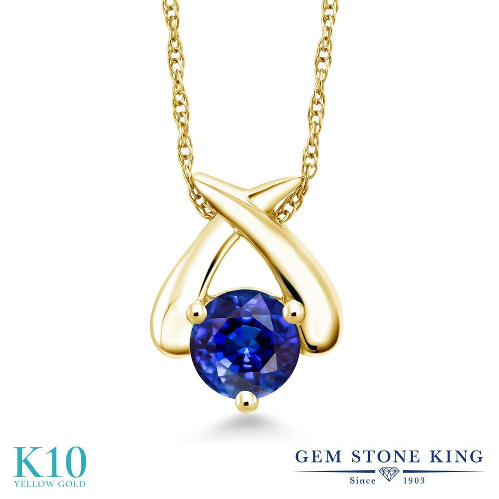 Gem Stone King 1.25カラット 天然 カイヤナイト (ブルー) 10金 イエローゴールド(K10) ネックレス ペンダント レディース 大粒 一粒 シンプル 天然石 金属アレルギー対応 誕生日プレゼント