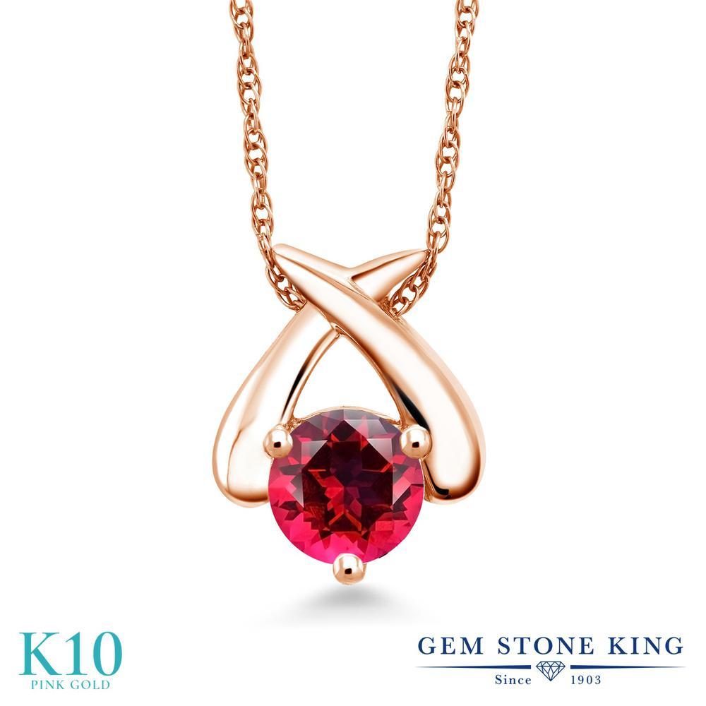 Gem Stone King 1カラット 天然石 レッドトパーズ (スワロフスキー 天然石シリーズ) 10金 ピンクゴールド(K10) ネックレス ペンダント レディース 大粒 一粒 シンプル 天然石 金属アレルギー対応 誕生日プレゼント