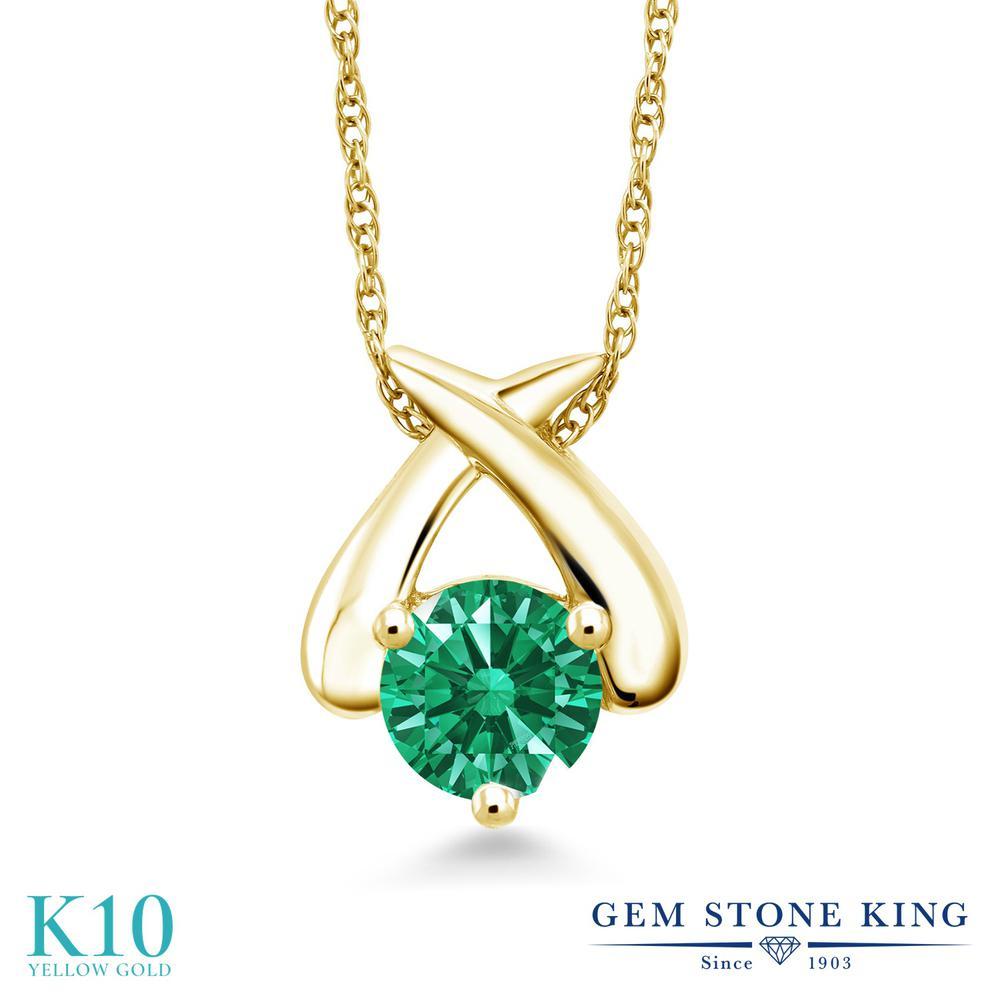Gem Stone King スワロフスキージルコニア (グリーン) 10金 イエローゴールド(K10) ネックレス ペンダント レディース CZ 一粒 シンプル 金属アレルギー対応 誕生日プレゼント