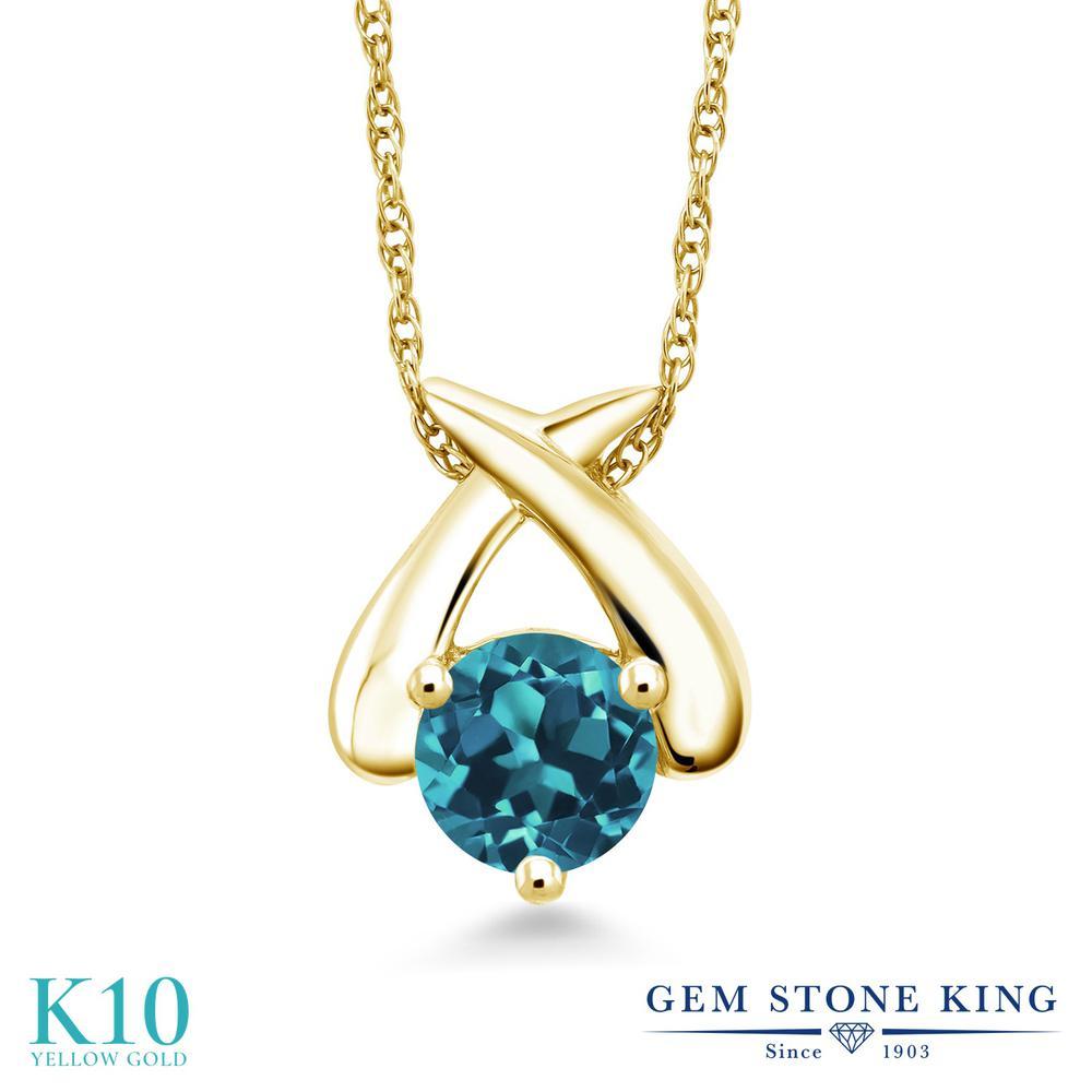 Gem Stone King 1.1カラット 天然 ロンドンブルートパーズ 10金 イエローゴールド(K10) ネックレス ペンダント レディース 大粒 一粒 シンプル 天然石 11月 誕生石 金属アレルギー対応 誕生日プレゼント