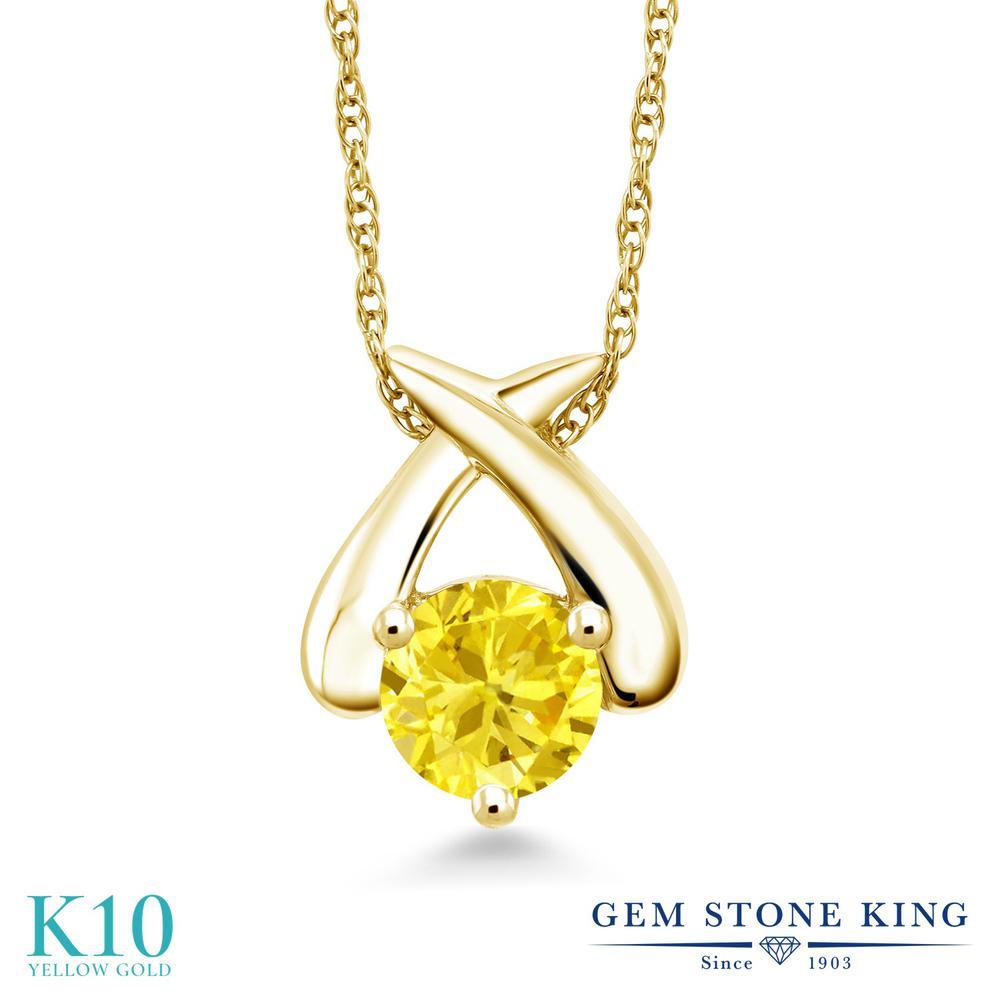 Gem Stone King ジルコニア (イエロー) 10金 イエローゴールド(K10) ネックレス ペンダント レディース CZ 大粒 一粒 シンプル 金属アレルギー対応 誕生日プレゼント