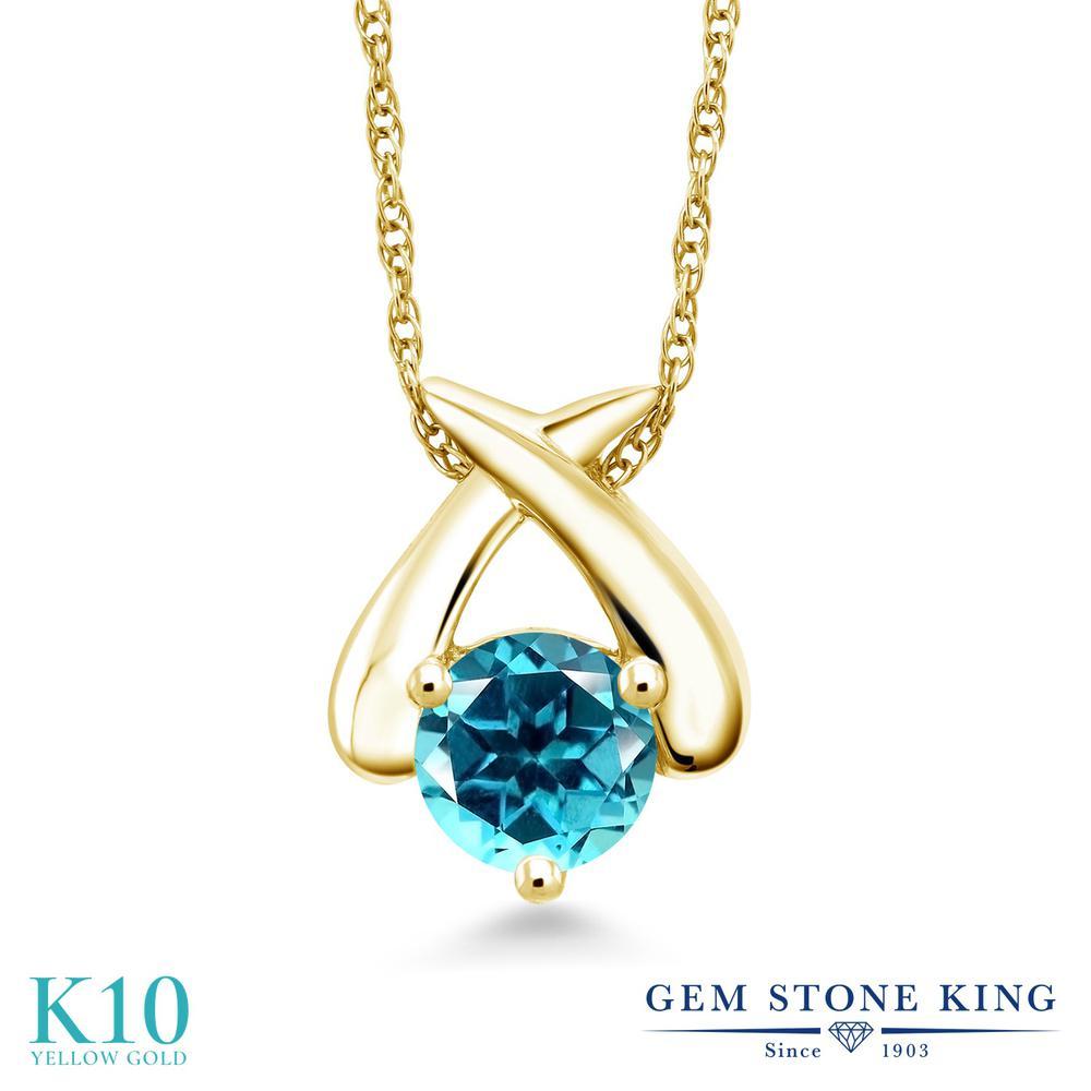 Gem Stone King 1カラット 天然石 パライバトパーズ (スワロフスキー 天然石シリーズ) 10金 イエローゴールド(K10) ネックレス ペンダント レディース 大粒 一粒 シンプル 天然石 金属アレルギー対応 誕生日プレゼント